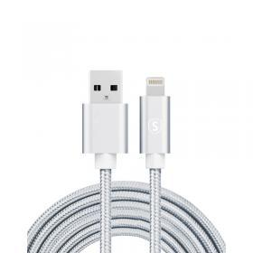 SiGN SiGN USB till Lightning Kabel, 2m, Nylon - Silver