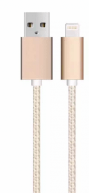 SiGN USB kabel med Lightning kontakt för iPhone & iPad Guld/Nylon, 1m