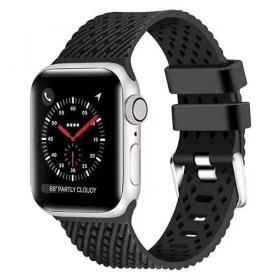Taltech Silikonarmband för Apple Watch 5-4 40 mm & 3-2-1 38mm - Svart