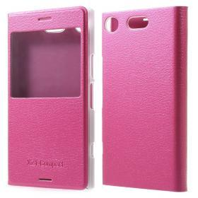 Litchi fönsterfodral till Sony Xperia XZ1 Compact - Rosa