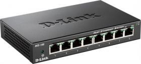 D-Link Ethernet Switch, 8x10/100Mbps, metallhölje, svart