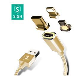 SiGN SiGN Magnetkabel 3-in-1 USB-C, Lightning & Micro-USB 2.4A 1 m - Guld