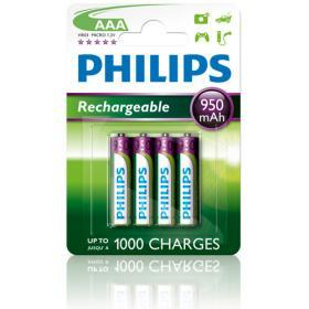 Philips Philips Laddningsbara AAA Batterier 950mAh, 4-pack