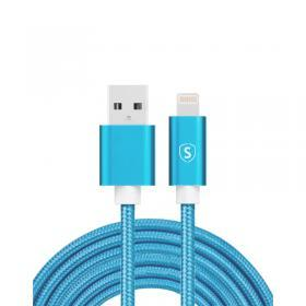 SiGN SiGN USB till Lightning Kabel, 2m, Nylon - Blå