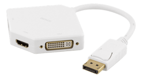 DELTACO DELTACO DisplayPort till DVI/HDMI/VGA Adapter, Ultra HD - Vit