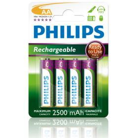 Philips Philips Laddningsbara AA Batterier 2500mAh, 4-pack