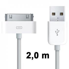 USB-kabel 2m iPod/iPhone/iPad, Vit