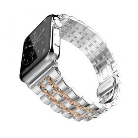 Taltech Metallarmband i Rostfritt Stål Apple Watch 4 44mm & 1/2/3 42 mm - Silver/Rosé