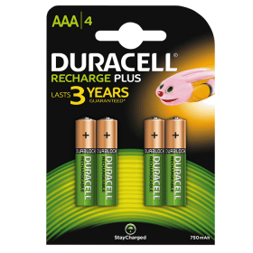 DURACELL Duracell Recharge Plus Laddningsbara AAA Batterier 750mAh, 4-pack