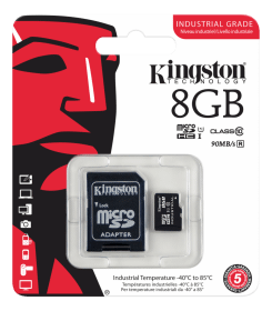 Kingston Kingston 8GB microSDHC UHS-I Class 10 Industrial Temp Card + SD Adapte