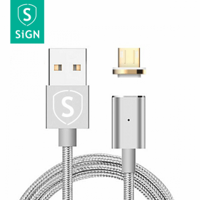 SiGN SiGN Magnetkabel Micro-USB 2.4A 1 m - Silver
