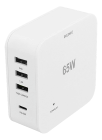 DELTACO Deltaco 65W Laddare, USB-C PD, Snabbladdning, MacBook Air, iPhone m.fl. Vit