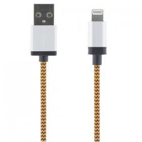 STREETZ STREETZ USB lightning kabel , tygklädd, MFi, 1m, orange