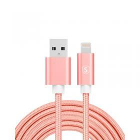 SiGN SiGN USB till Lightning Kabel, 3m, Nylon - Rosa