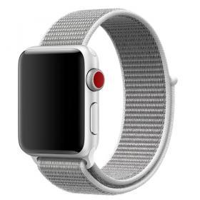 Taltech Velcro Armband för Apple Watch 5-4 40 mm & 3-2-1 38mm - Vit