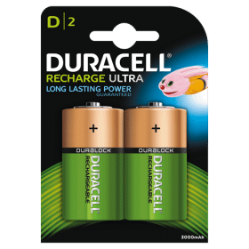 DURACELL Duracell Recharge Laddningsbara D Batterier 3000 mAh, 2-pack