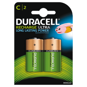 DURACELL Duracell Recharge Laddningsbara C Batterier 3000 mAh, 2-pack